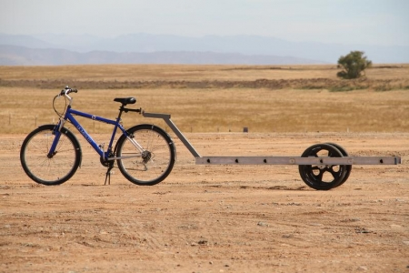 Custom UC Merced bike with trailer from ladder